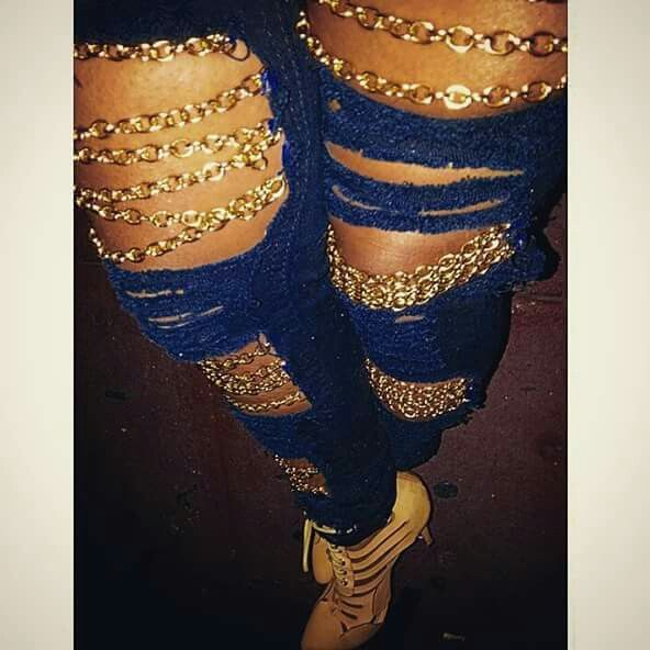 Distressed, gold chain jeans stop by your local craft store for chain links & DIY this look