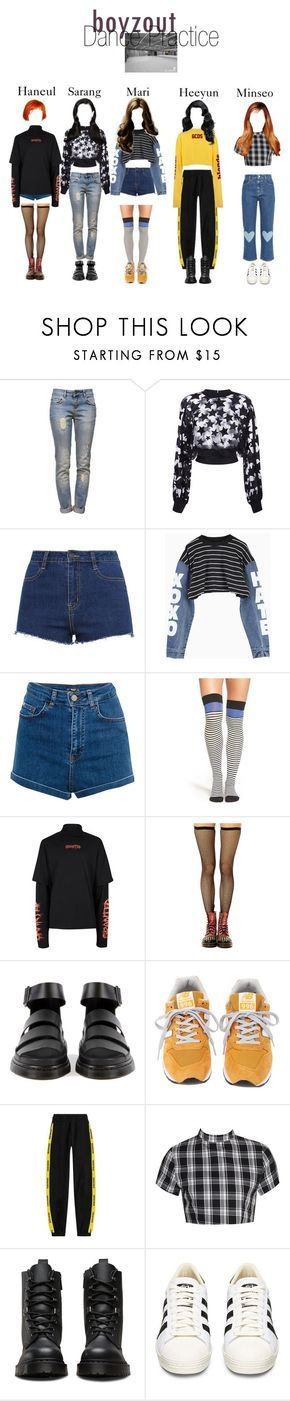 """Boyzout Dance Practice"" by abyssofficial ❤ liked on Polyvore featuring Anine Bing, Elie Saab, ZALORA, Pull&Bear, Kate Spade, Topman, New Balance, Boohoo, Dr. Martens and adidas"