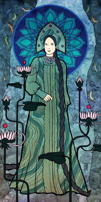 """Mistress of Copper Mountain"" by moon-pookah. moon-pookah is an Hungarian artist with a very unique style of art that reminds me of the illustrations drawn in various religious and political houses in Byzantium. They are very stylized, use solid colors and are full of emotion. You can view more of her work by clicking on the image and following her on deviantART."