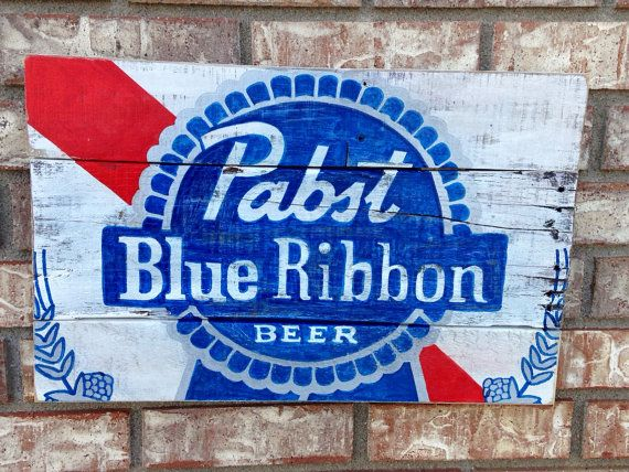 Pabst Blue Ribbon wall art, hand painted, recycled wood