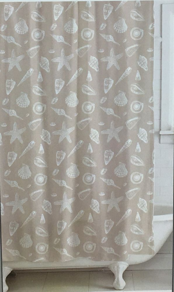 Shower Curtain For The Beach House White Seashells On A Beige