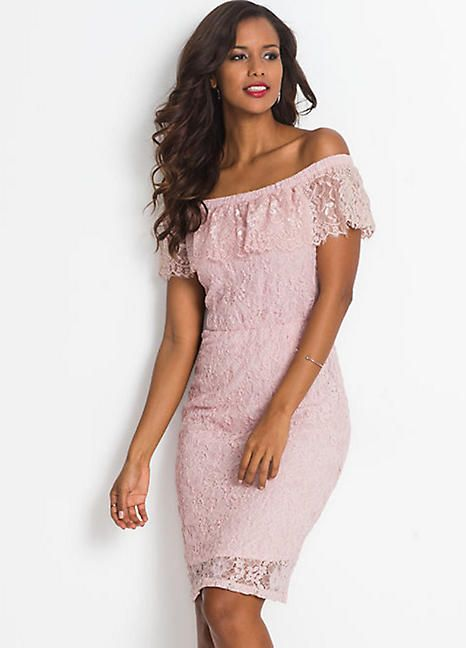 690c7e9212a A romantic lace dress with a wide neckline that has a flirty ruffle beneath  it. 66% Polyamide, 31% Cotton, 3% Elastane. Length approx. 94 cm.