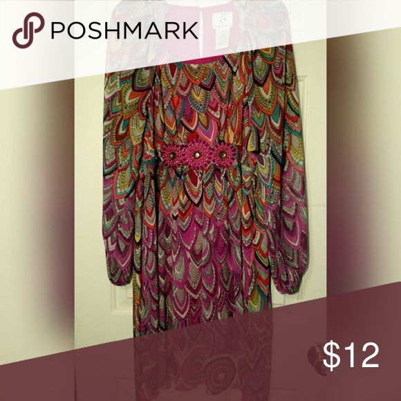 💐 Long Flowing Dress 💐 Multi-Coloured Peacock Feather Pattern Dress *perfect condition; worn once* Ice Dresses Long Sleeve