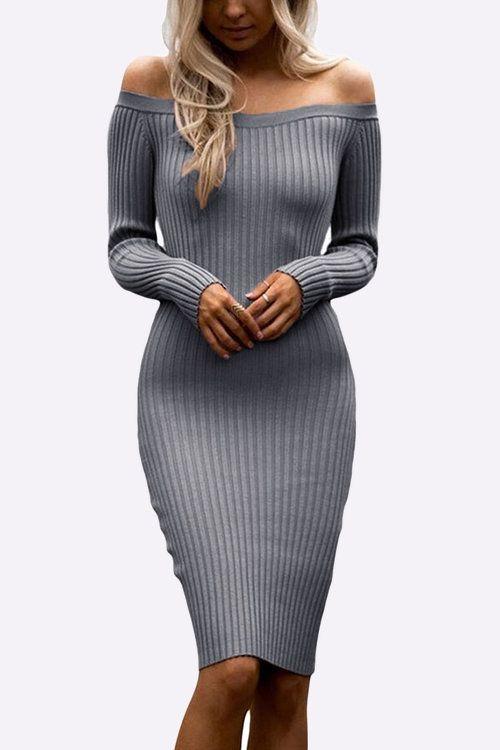Grey Sexy Off Shoulder Midi Bodycon Dress