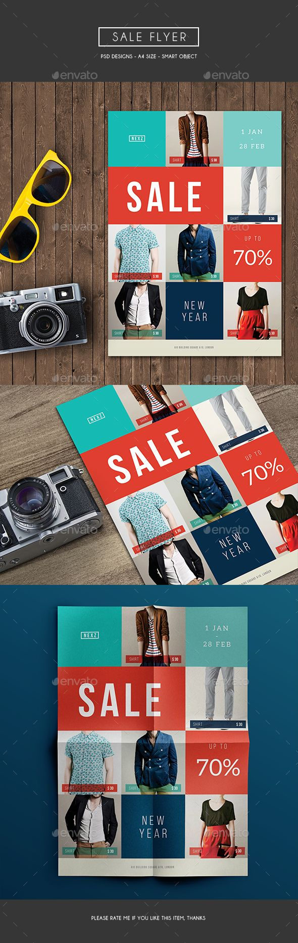 Sale Flyer, can be used for your promo/discount program in your store. It looks simple with geometric shape and colorful File Features :   Size A4 (8.211.6 In)   0,25 In Bleed area  CMYK / 300 dpi  Smart Object Image  Customizable Text  PSD file   Font Dow