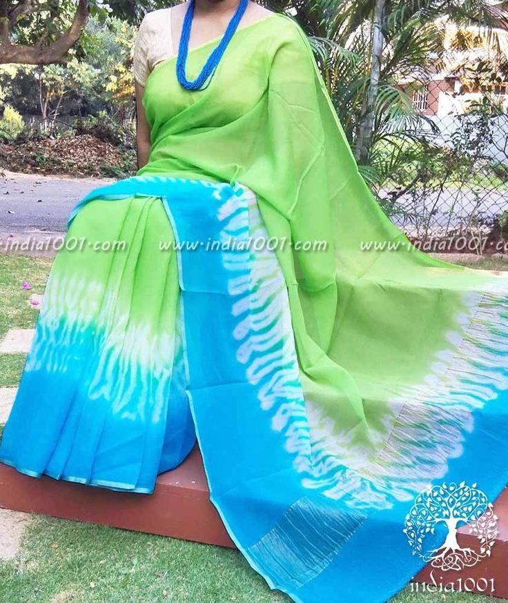 Designer Chiffon Saree with Hand crafted shibori patterns