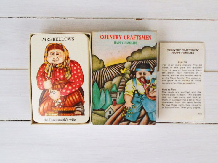 Happy Families Card Game. Country Craftsmen. National Trust Deck of Cards from the 1970's by VintageLoulabelle on Etsy