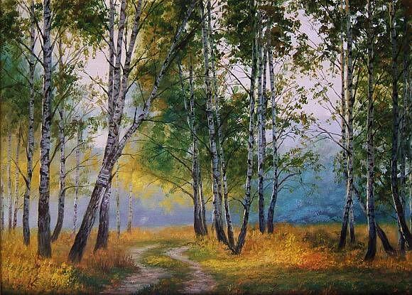 осенние березы, автор Юрий Карпиков. Артклуб Gallerix