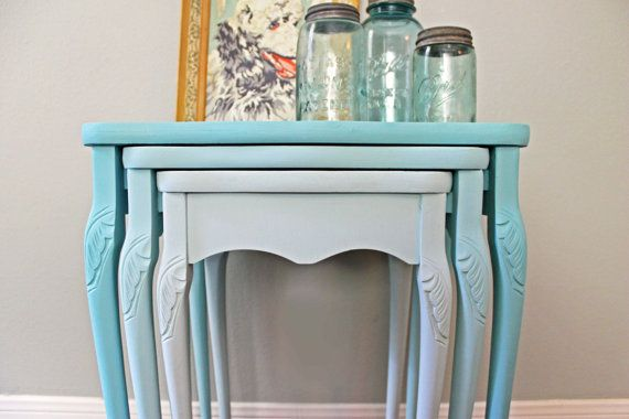 As Seen in DisneyBaby.com Blog - Vintage Turquoise Ombre Queen Anne Nesting Tables Nightstands Houston Texas on Etsy, $375.00
