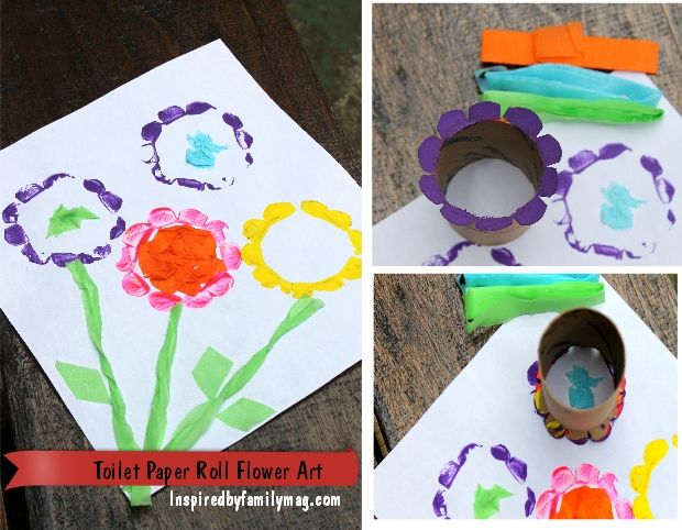 Spring Kids Craft Toilet Paper Roll Flower Painting