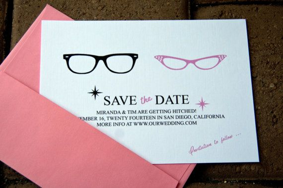 His & Hers 50's Style Glasses Wedding Save the Dates Retro Glasses set of 10 by Belleza e Luce