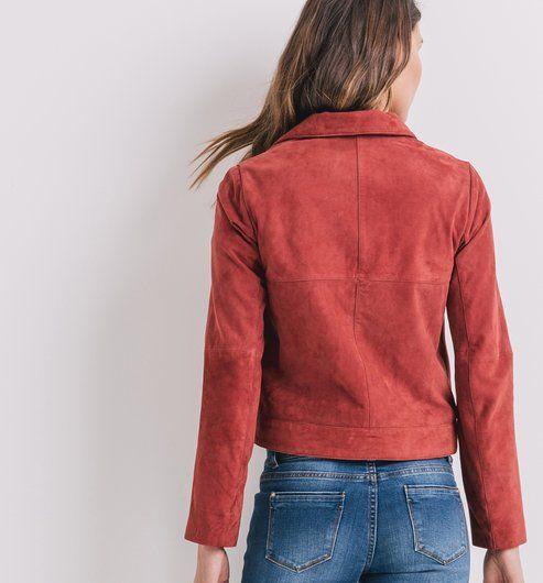 Veste cuir daim rouge