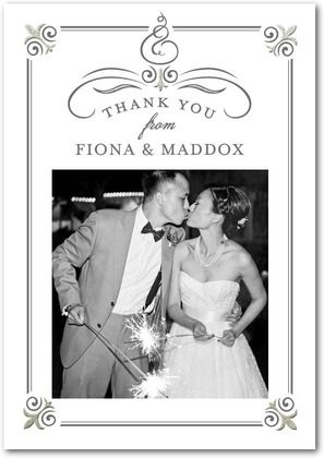 A great idea for post-wedding thank you cards - find a favorite photograph of the bride and groom, and use that in the thank you cards!