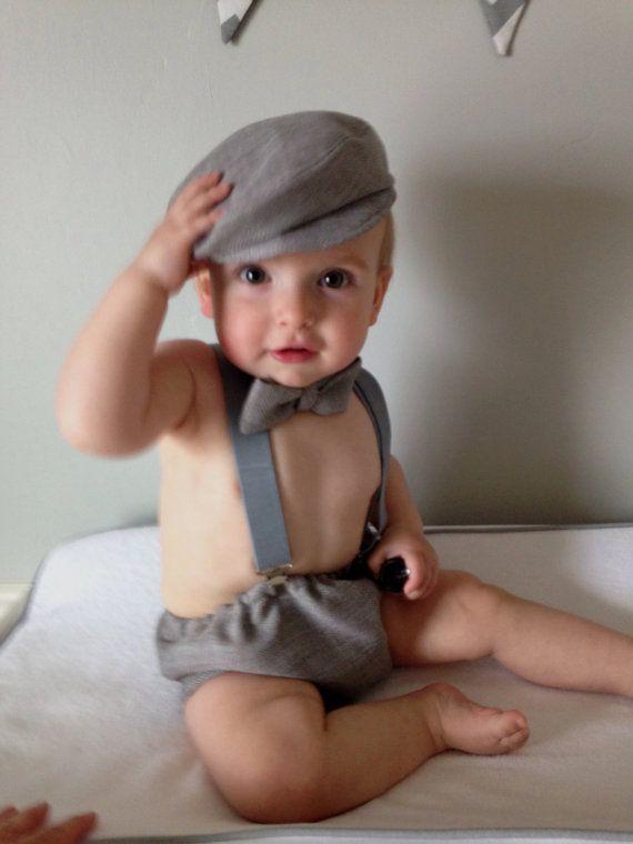 Licht grijs Baby jongen 1ste verjaardag door BuBBlingBoutique