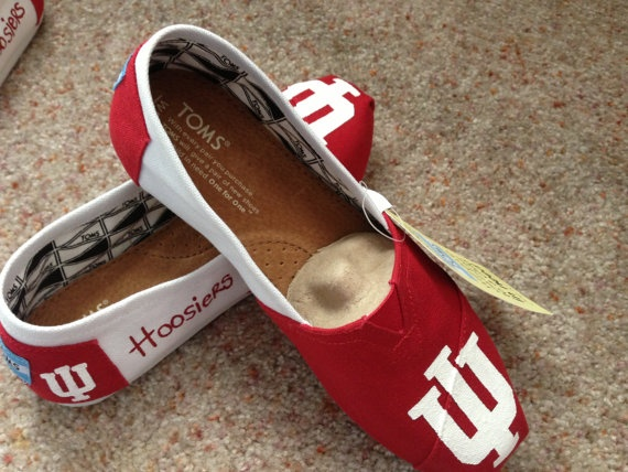 Indiana Hoosiers IU Hand Painted Toms With by CustomTomsByBrandi, $104.00