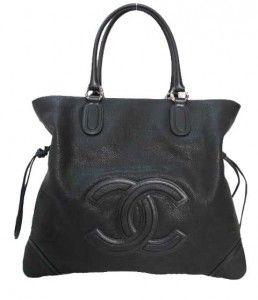 Chanel Black CC Logo Large Washed Grain Leather Drawstring Tote Bag