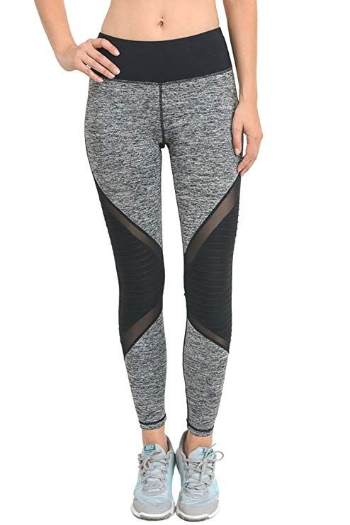 3510b362d3999 Mono B Women's Performance Activewear - Yoga Leggings with Sleek Contrast  Mesh Panels #yogaclothes