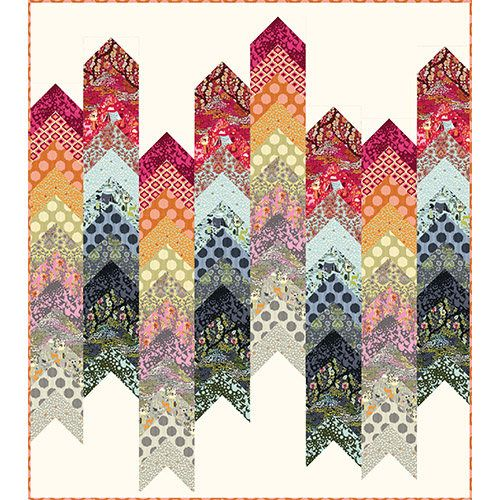 LIMITED Abacus Quilt Kit featuring Moon Shine by Tula Pink LIMITED EDITION QUILT KIT  **** We have a very limited number of kits. Moon Shine has been long discontinued and is considered a collector fabric.  The rows of chevrons are reminiscent of an abacus. Practice your counting skills on this fun quilt by Tula Pink. For Tula Pink, Moon Shine evokes, quite literally, a fantasy camping trip full of mystery and wonder. Tula freely admits that she's not that outdoorsy, and happily gets in…