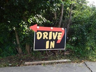 Drive in movie party-Homemade drive in sign