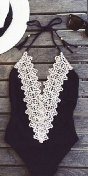 Black White High Waist One Piece Swimsuit come in blue and black color. This swimsuit has patched lace at front. Tie closure at neck, stretchy. Perfect with your favorite cutoffs, beach cover-up, and