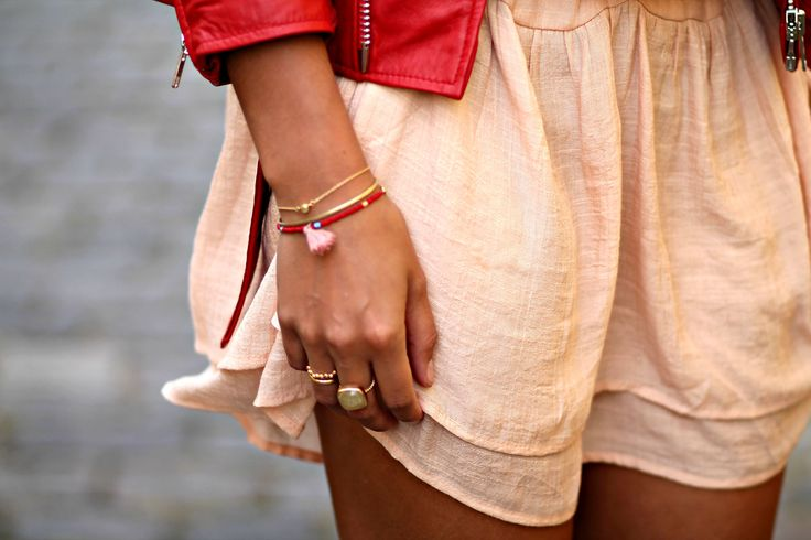 Blush dress, red leather jacket and golden jewelry details. Outfit from the Summer of 2015. See more on natulia.com