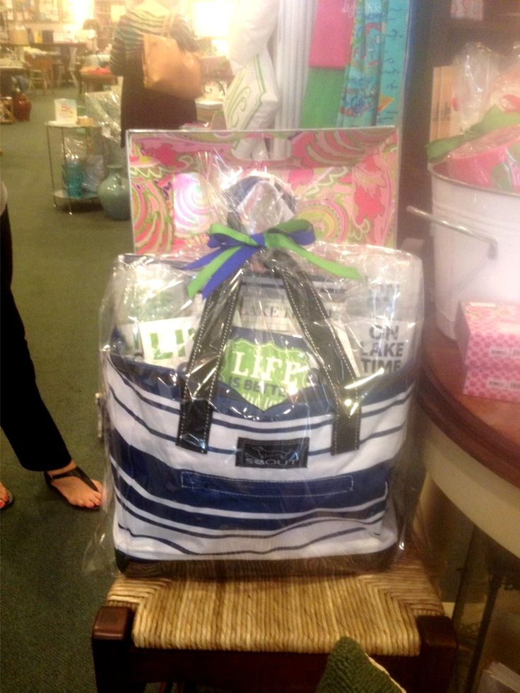 A great gift combo - Navy and White Scout Cooler filled with gifts for the lake www.SeasonsGiftsAndHome.com