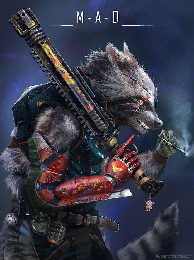 El artista Fred Rambaud es el encargado de crear la maravilla que os mostramos a continuación, una sensacional ilustración que nos mezcla a Rocket Raccoon de Guardianes de la Galaxia y Solid Snake de Metal...