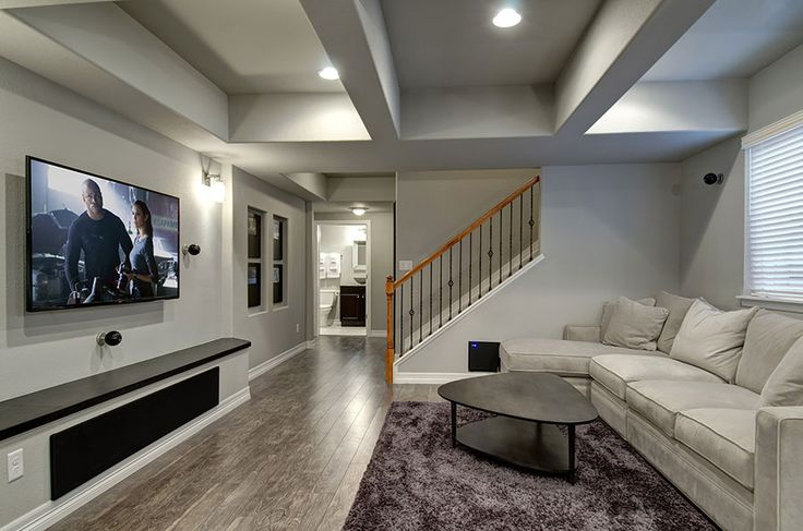 Basement TV Wall Stairs