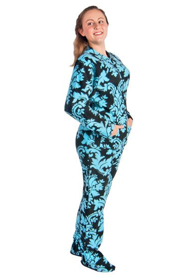 Footed Pajamas for Women Drop Seat Damask with Butt Flap