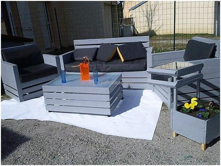The big table is rectangular in shape, while the other small table is square in shape; but both are covered by the glass. It will surely make the area attractive; it will also fulfill the seating need in a great and inexpensive way. Pallets are not difficult to restyle and just a saw is required to cut the pallets into different designs.