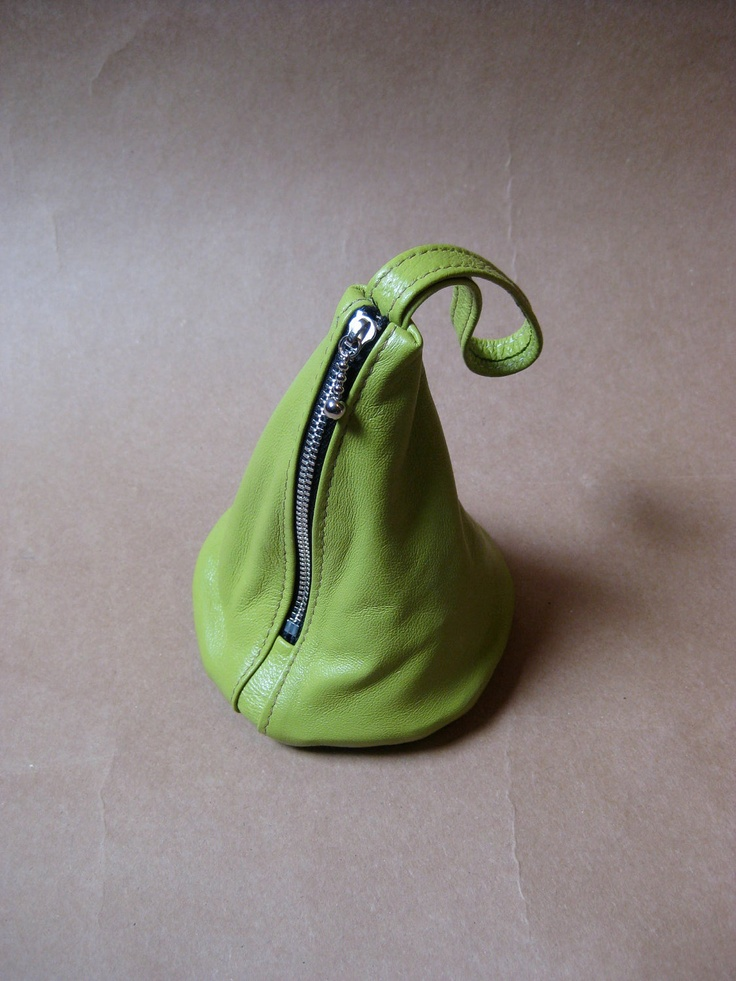 Lime Lamb Leather Wristlet, Clutch, Change, Makeup, Wallet, Coin Purse.-THE CLUB POUCH. $19.99, via Etsy.
