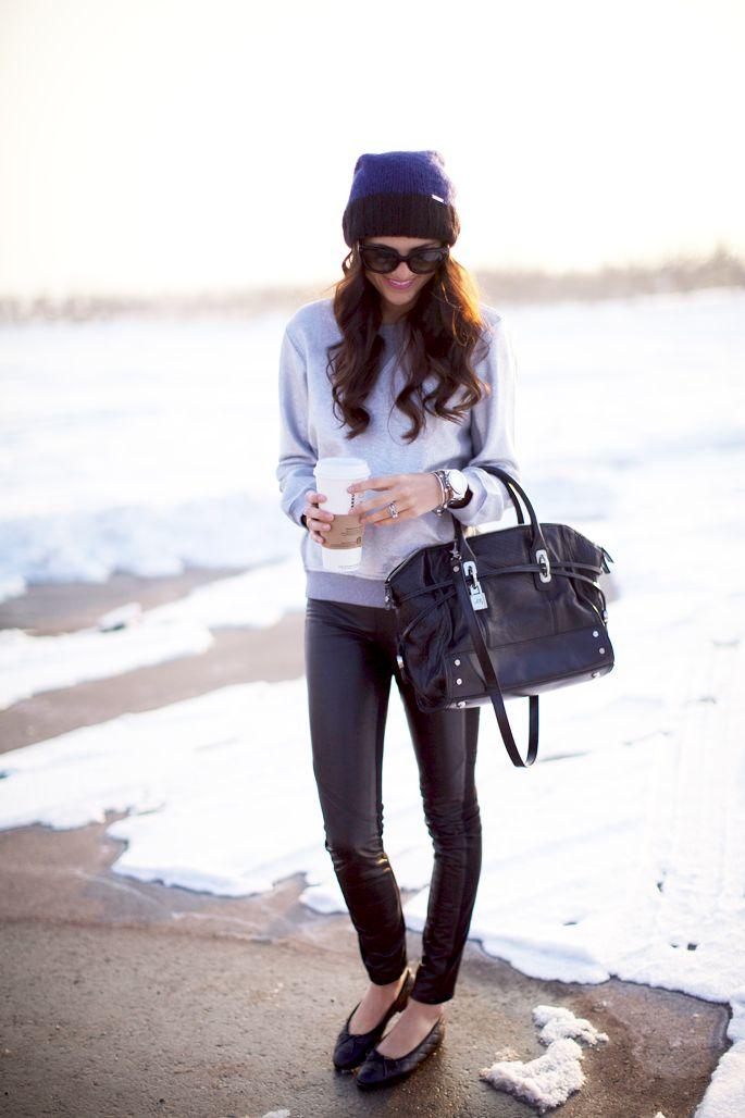 3.13 one sweater, three ways (Marc Jacobs sweater + Paige 'black label' pants + Chanel flats + Michael Kors hat + Prada sunnies + Milly bag + Michael Kors, PoshLocket, Stella & Dot bracelets + YSL 'sheer candy' lipstick)