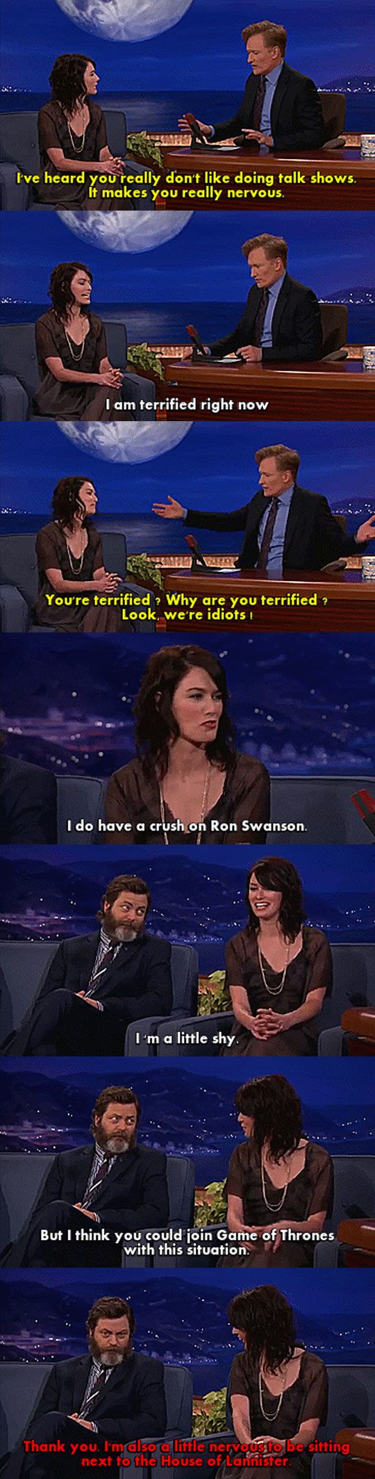 Lena Headey And Nick Offerman. This made me so happy!