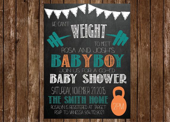 Crossfit Theme Baby Boy Shower Invitation by IcingOnTheParty
