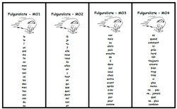Fulgurolistes: des listes pour lire aisément les mots, fluence, rapidité, Cp, Ce1