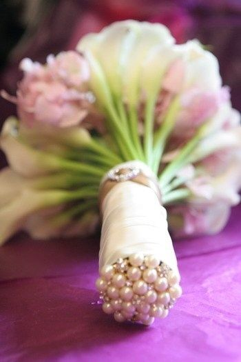 finish off the end of your bouquet with corsage pins