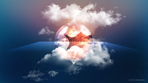 Abstract Wallpaper. surreal, clouds, sky, mirror, circle, diamond, overlay, vector