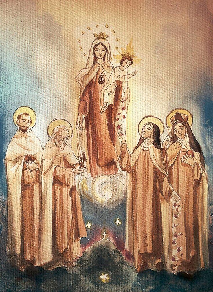 Virgen del Carmen junto a San Juan de la Cruz, San Simón Stock, Santa Teresita de Lisieux y Santa Teresa de Avila, en acuarela