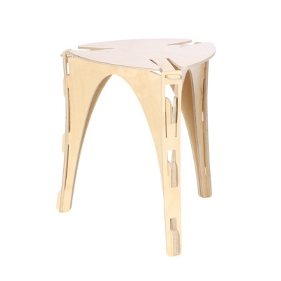 Tuffet Stool - force of bent plywood holds the piece together.