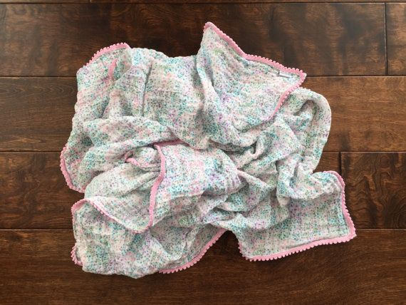 Lovey or Mini Gauze Muslin Pom Pom Blanket: by BlankieYourBaby