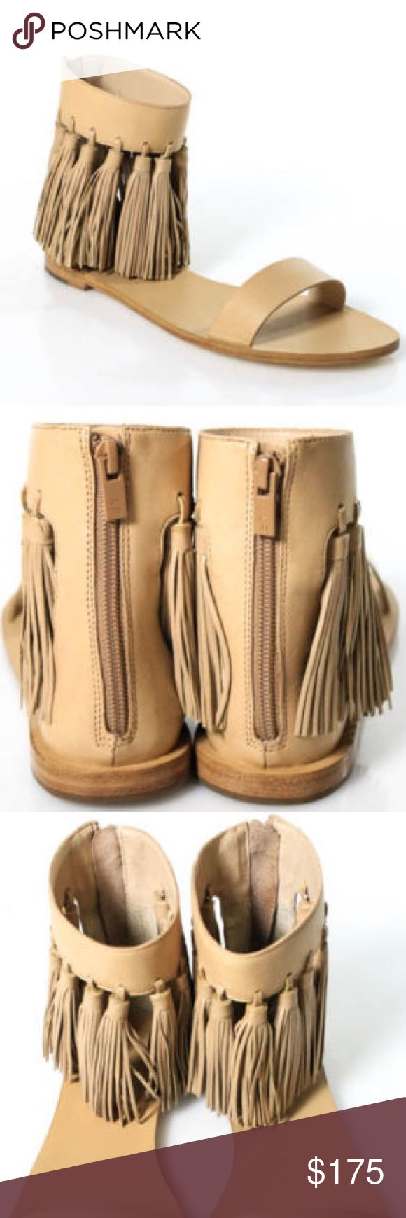 Loeffler Randall Lark Sandals Fringe Flat Wheat Loeffler Randall Lark Sandals These are new without box. They do have some very faint marks on the sole from trying on in the store.   Size 8 Loeffler Randall Shoes Sandals