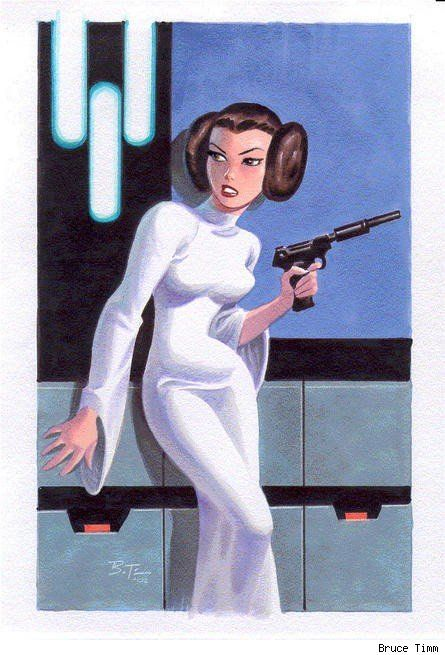 Princess Leia by Bruce Timm I don't remember Leia looking exactly like this but.....who cares.