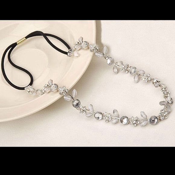 BOGO FREE Flower/diamond head band New, details include flowers made from diamond like studs, has pearl like studs as leaves and single dot studs, stretchy band to fit almost any size head, ***more available*** , wear with any hair style for any occasion, NOTE: no brand Accessories