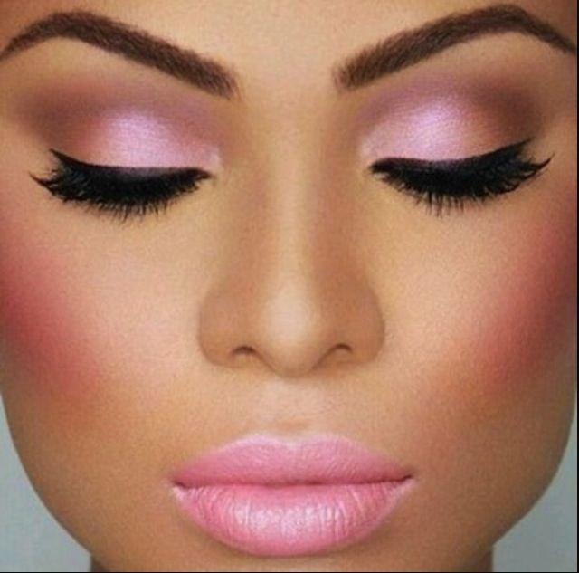 Beautiful make up look, pink eye shadow, pink lips