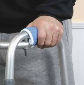 Walker Handgrips, Fleece by Easier Living. $15.95. Slip-resistant padded comfort.. Blue. Fleece with foam underliner.. Hook and loop fasteners hold them in place.. Walker Hand Grips offer slip-resistant padded comfort to a walker. This allows users to keep their balance and footing. Offering incredible comfort, they are made of lamb-like fleece with foam underliner.