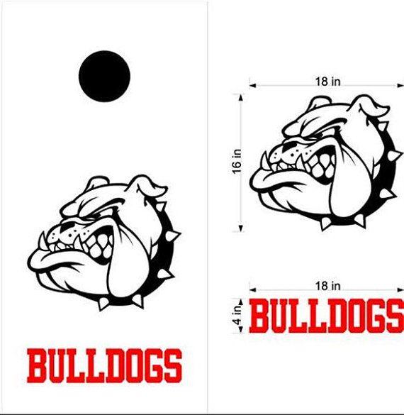Bulldogs Cornhole Board Decals Flag Stickers Graphics Wrap Bag Toss Bean Baggo 2
