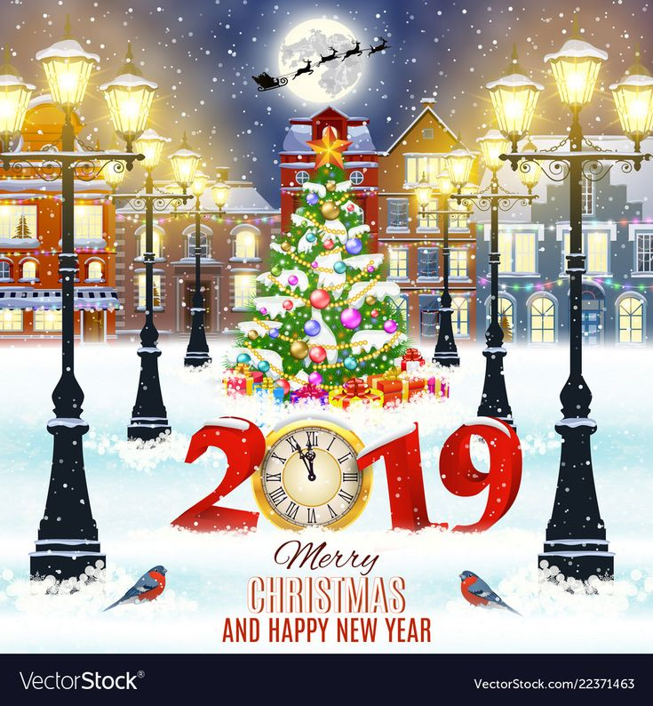 happy new year and merry Christmas winter old town…