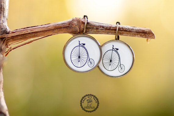 Old Bicycle Dangle Earrings, Penny Farthing Bike Earrings, Gift for Bike Lover Women Sister Her, Photo Image Picture Earrings Jewelry