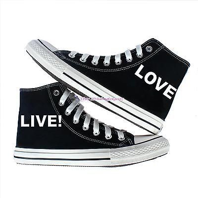 LOVE LIVE Canvas Shoes women sneakers black shoes Trainers Boots