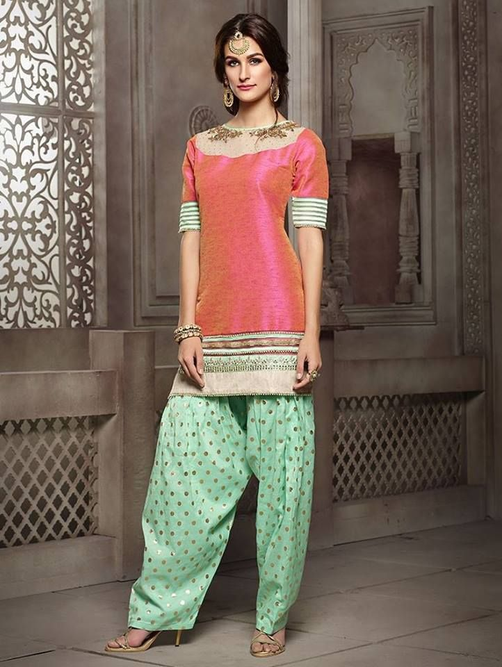 Exude charisma as you flaunt this fascinating peach #patiala suit in two toned silk.